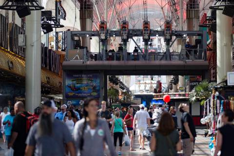 The Fremont Street Experience in Downtown Las Vegas, Thursday, Sept. 12, 2019. (Rachel Aston/La ...