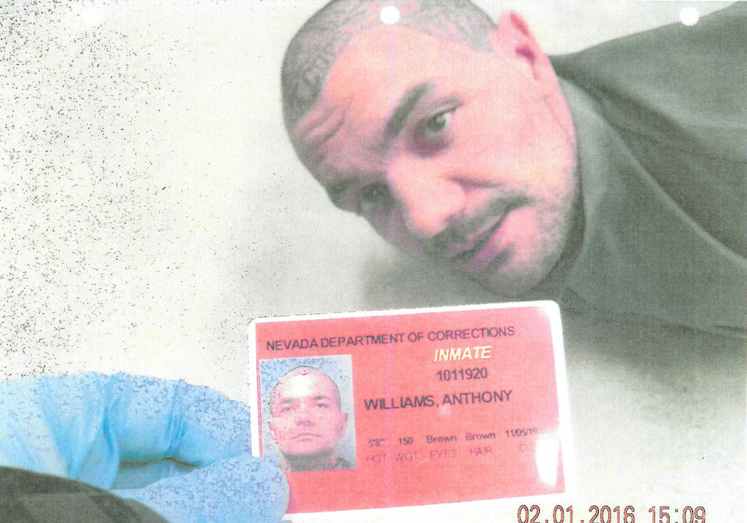 Anthony Williams is handcuffed on the floor of High Desert State Prison after a fellow prisoner ...
