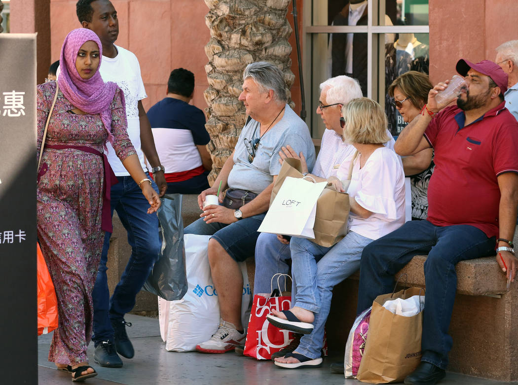 Shoppers take a break at Las Vegas North Premium Outlets on Tuesday, Sept. 17, 2019. The outlet ...