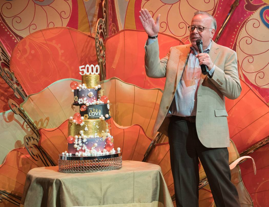 """Cirque du Soleil senior executive Jerry Nadal celebrates the 5,000th performance of """"The Beatle ..."""