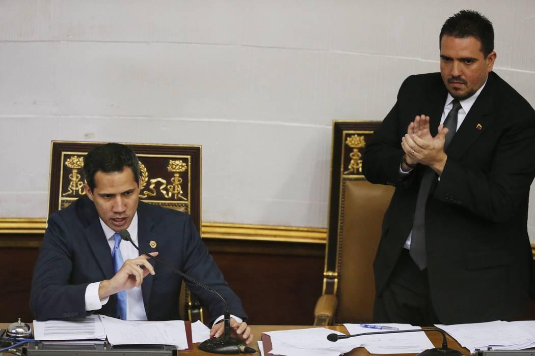 Venezuelan opposition leader and self-proclaimed interim president of Venezuela Juan Guaido, le ...