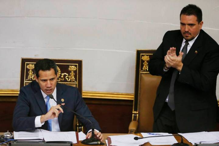 Venezuelan opposition leader and self-proclaimed interim president of Venezuela Juan Guaido, le ...