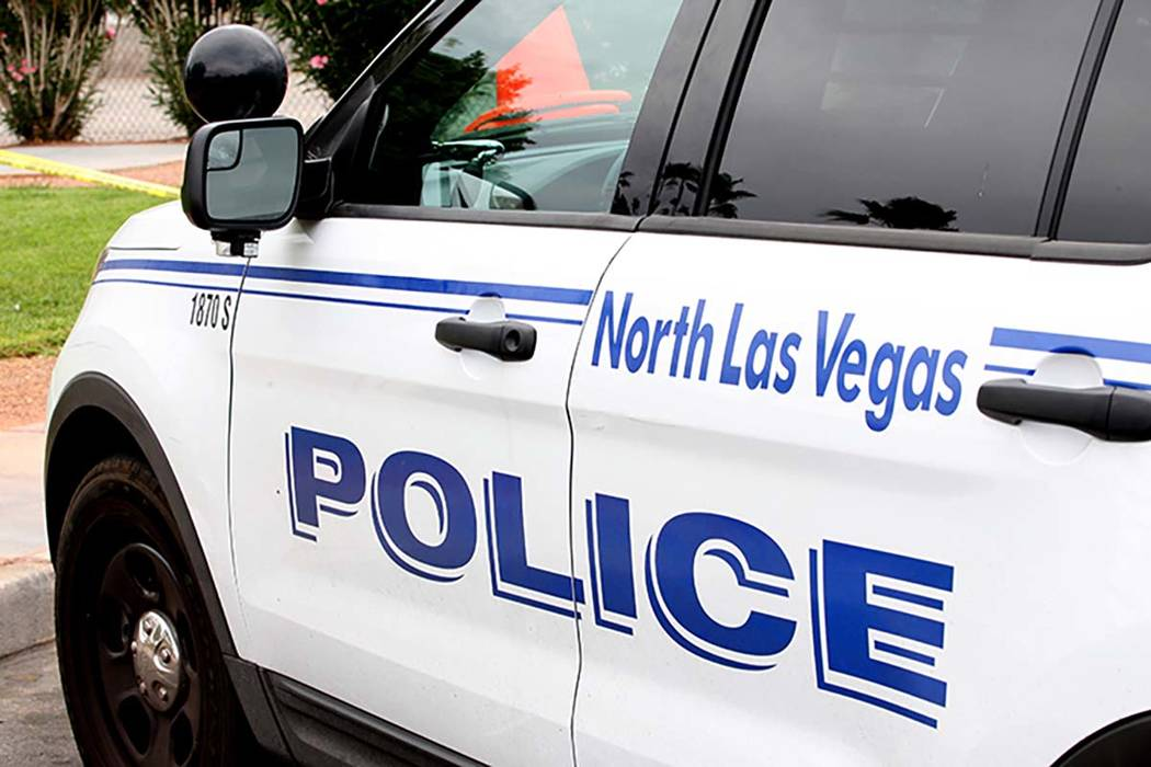 North Las Vegas police respond to an apartment complex near Decatur and Cheyenne Avenue where a ...