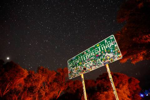 In this July 22, 2019 file photo, a sign advertises state Route 375 as the Extraterrestrial Hig ...
