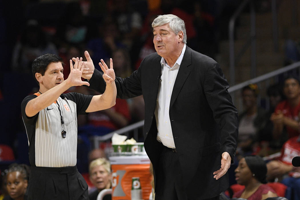 Las Vegas Aces coach Bill Laimbeer, right, gestures to an official during the second half of Ga ...