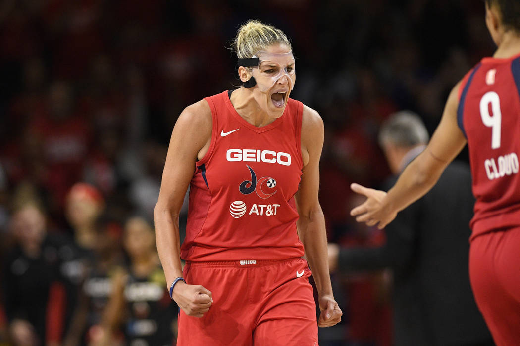 Washington Mystics forward Elena Delle Donne reacts after she made a basket against the Las Veg ...