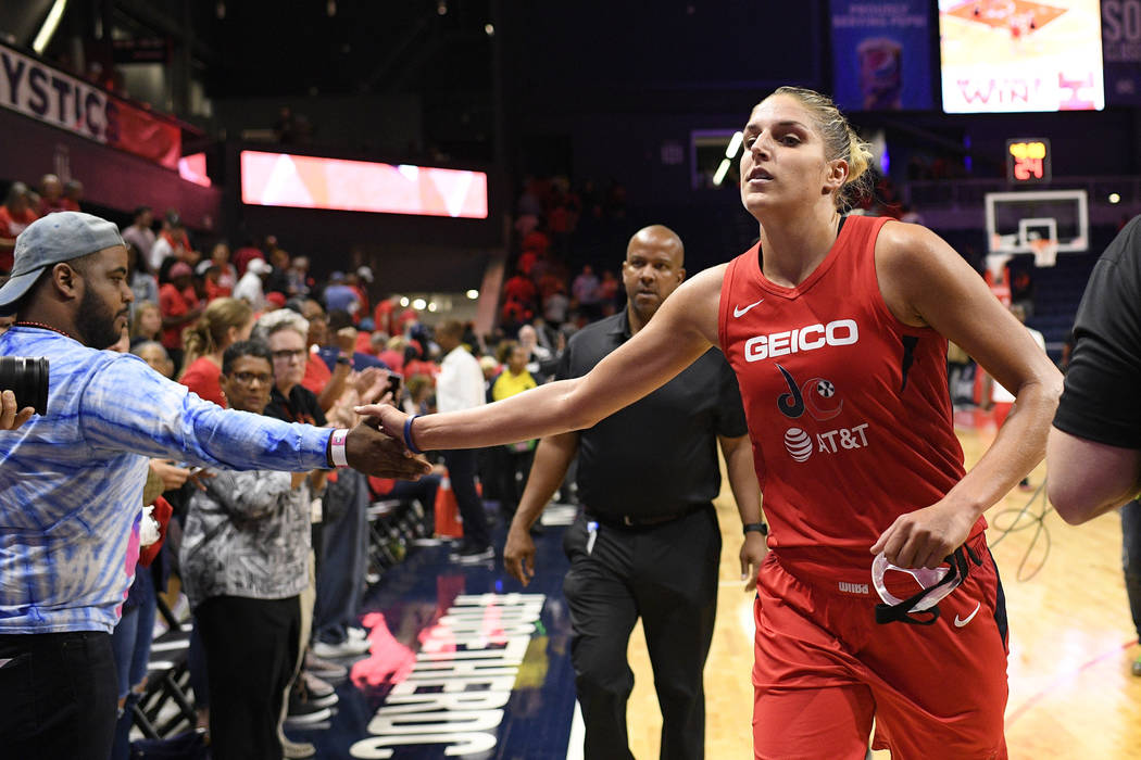 Washington Mystics' Elena Delle Donne runs off the court after Game 1 of the team's WNBA playof ...