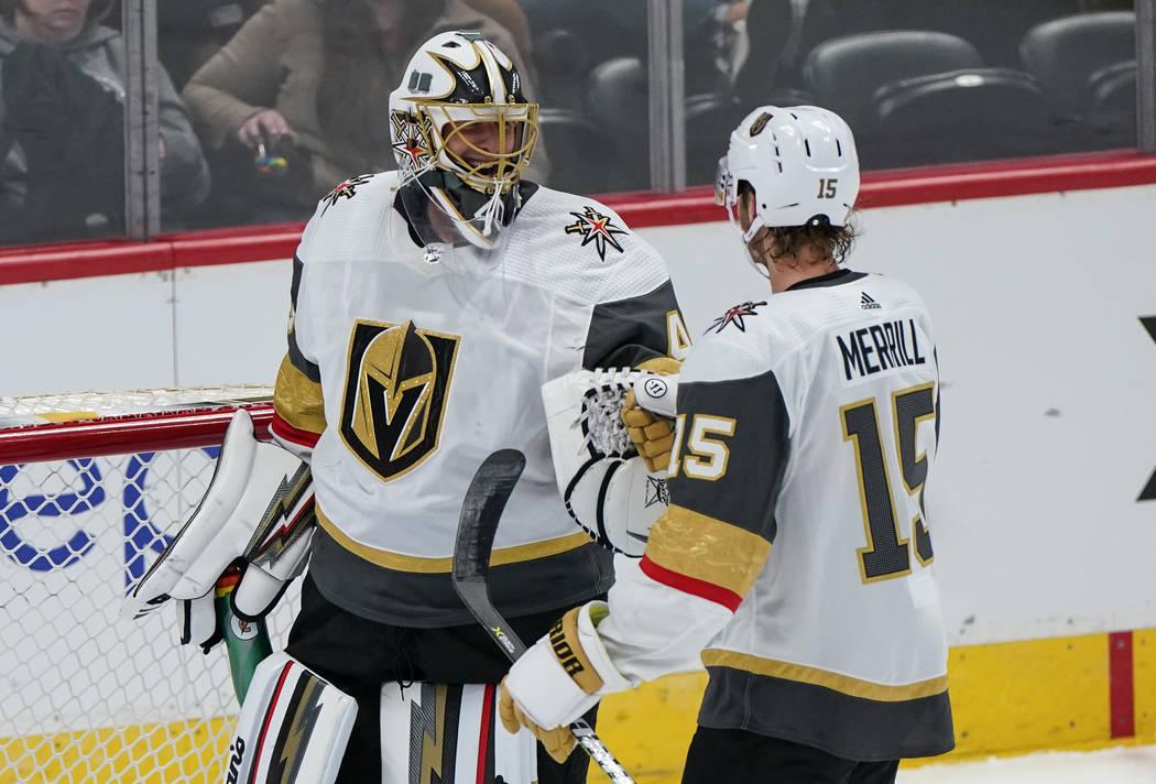 Vegas Golden Knights goaltender Garret Sparks (40) celebrates a win against the Colorado Avalan ...