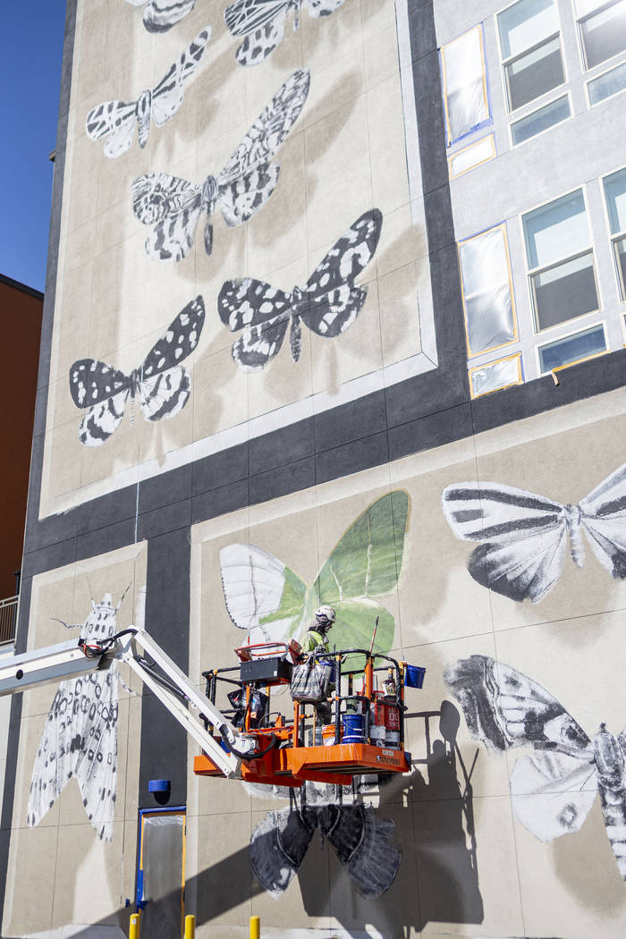 French painter Mantra works on his mural in preparation for Life is Beautiful music festival in ...