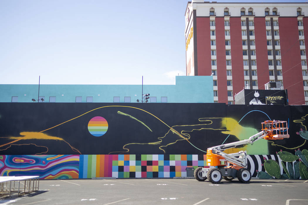Local Las Vegas artist Eric Vozzola's mural is underway in preparation for Life is Beautiful mu ...