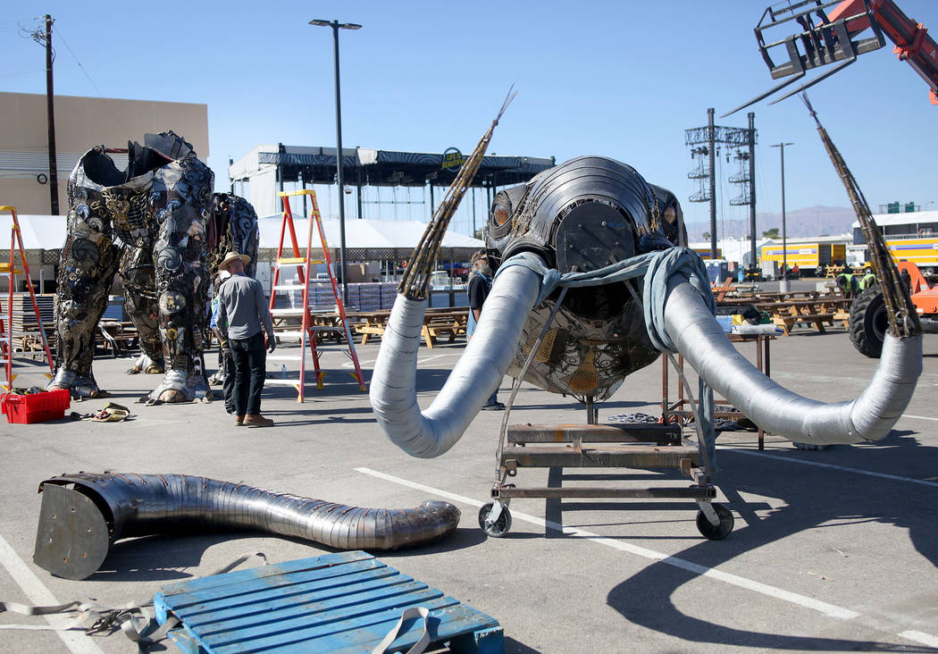 "A sculpture of the ""Monumental Mammoth"" created by local Las Vegas artist Tahoe Mack, 18, is be ..."