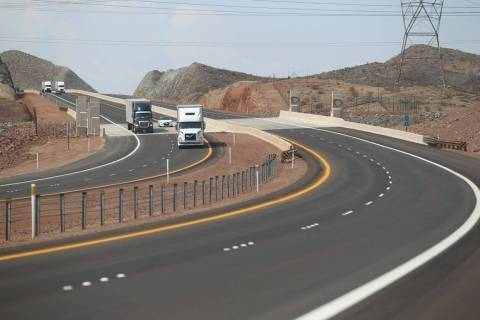 Traffic moves on the northbound lanes of Interstate 11 after a ceremony marking the opening of ...