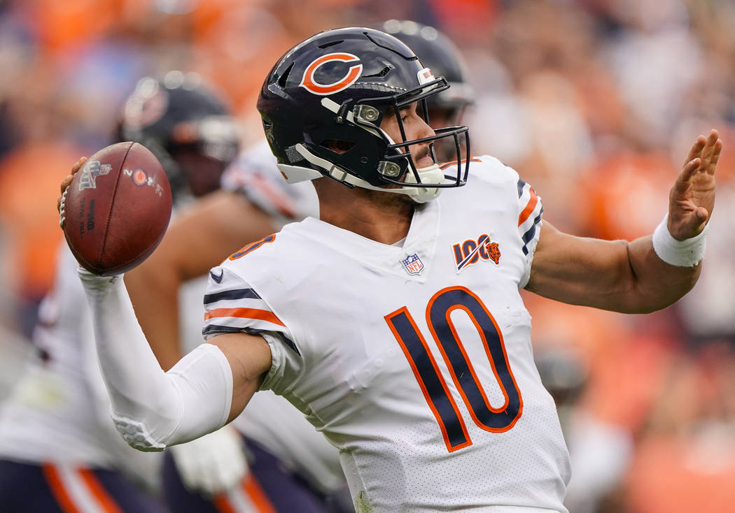 Chicago Bears quarterback Mitchell Trubisky throws during an NFL football game between the Denv ...