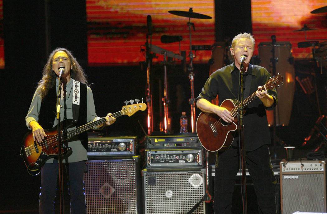 Timothy B. Schmit, left and Don Henley of the Eagles perform at the new Nokia Theatre in Los An ...