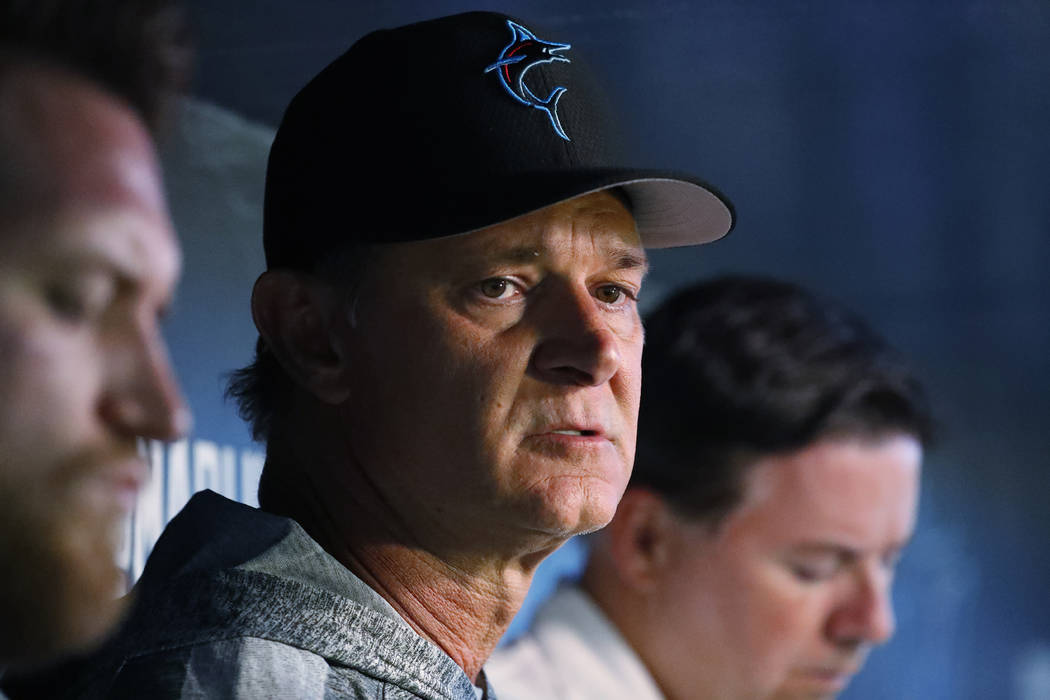 Miami Marlins manager Don Mattingly speaks to members of the media before the start of a baseba ...