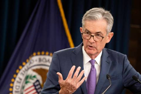 FILE - In this July 31, 2019, file photo Federal Reserve Chairman Jerome Powell speaks during a ...