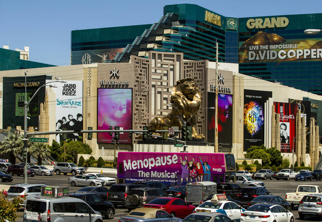 An RTC bus passes the MGM Grand driving down the Strip on Tuesday, Aug. 13, 2019 in Las Vegas. ...