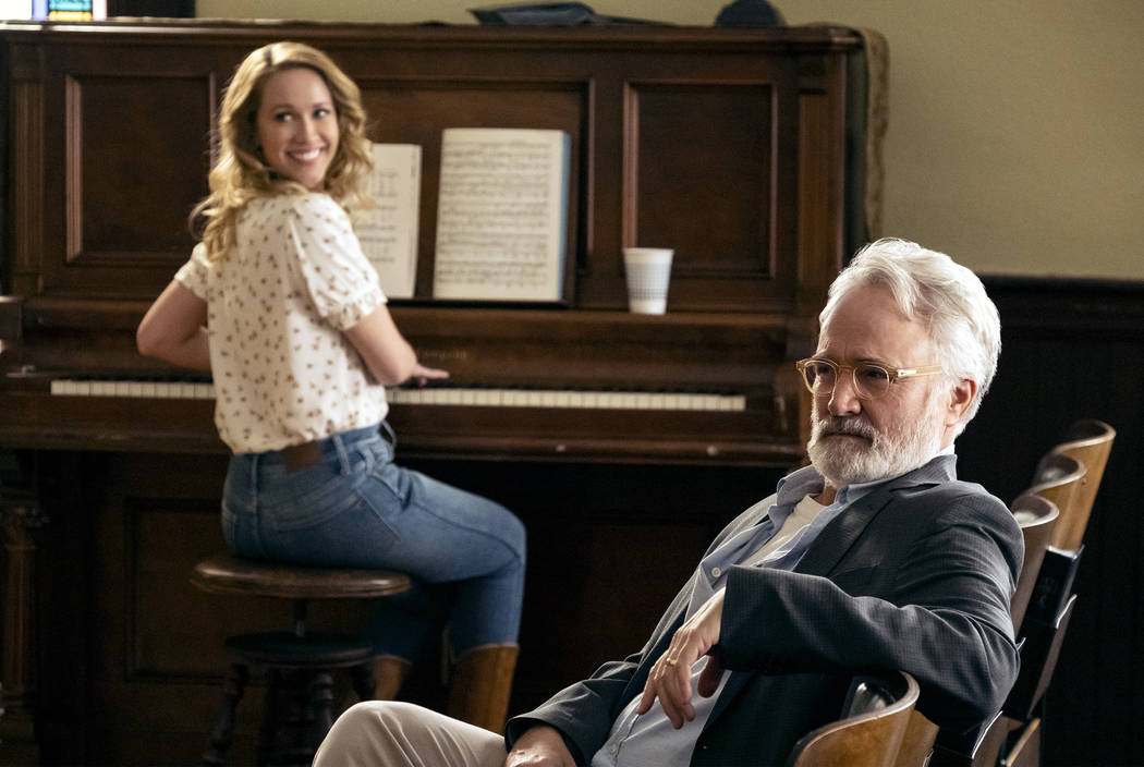 """PERFECT HARMONY -- """"Pilot"""" -- Pictured: (l-r) Anna Camp as Ginny,, Bradley Whitford a ..."""