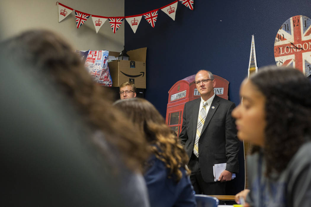 Assistant U.S. Secretary of Education Scott Stump tours an AP English class at Lake Mead Christ ...
