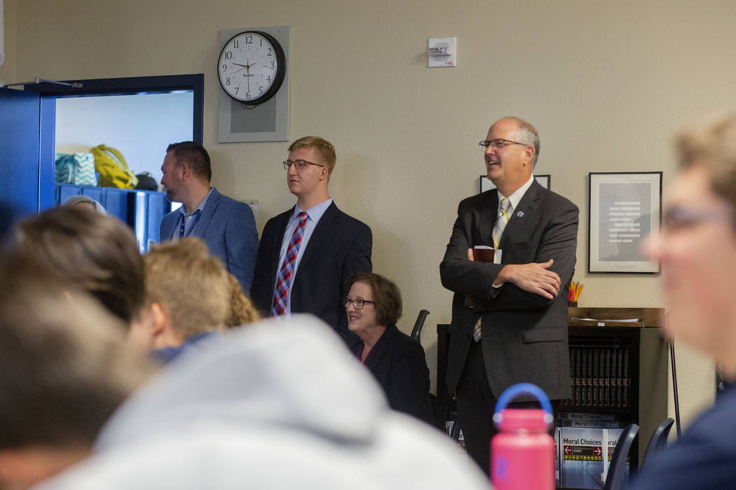 Assistant U.S. Secretary of Education Scott Stump, right, tours a classroom at Lake Mead Christ ...