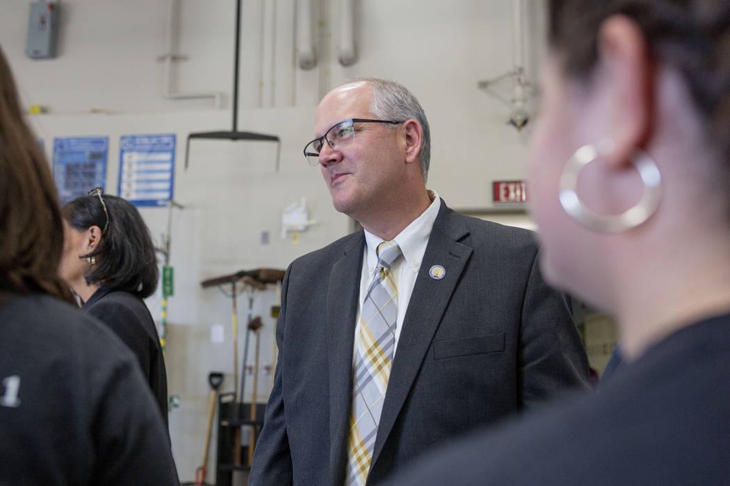 Assistant U.S. Secretary of Education Scott Stump visits a welding class at East Career Technic ...