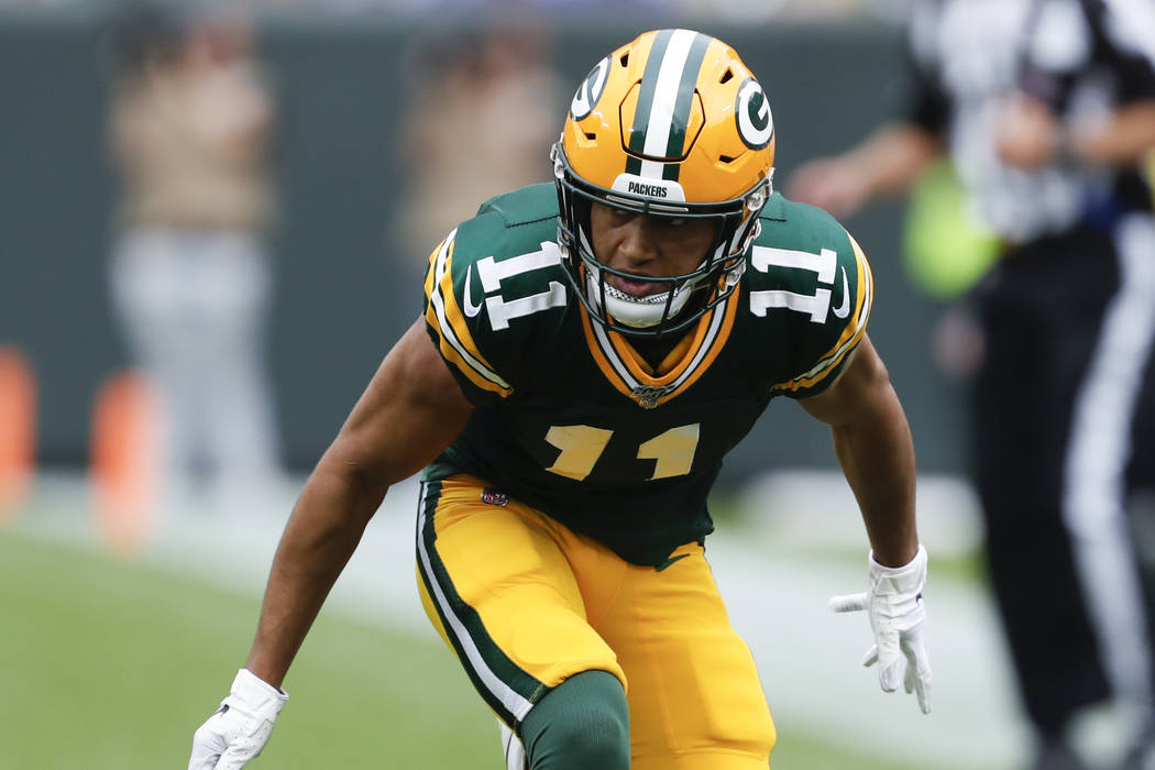 Green Bay Packers' Trevor Davis is seen during the first half of an NFL football game against t ...