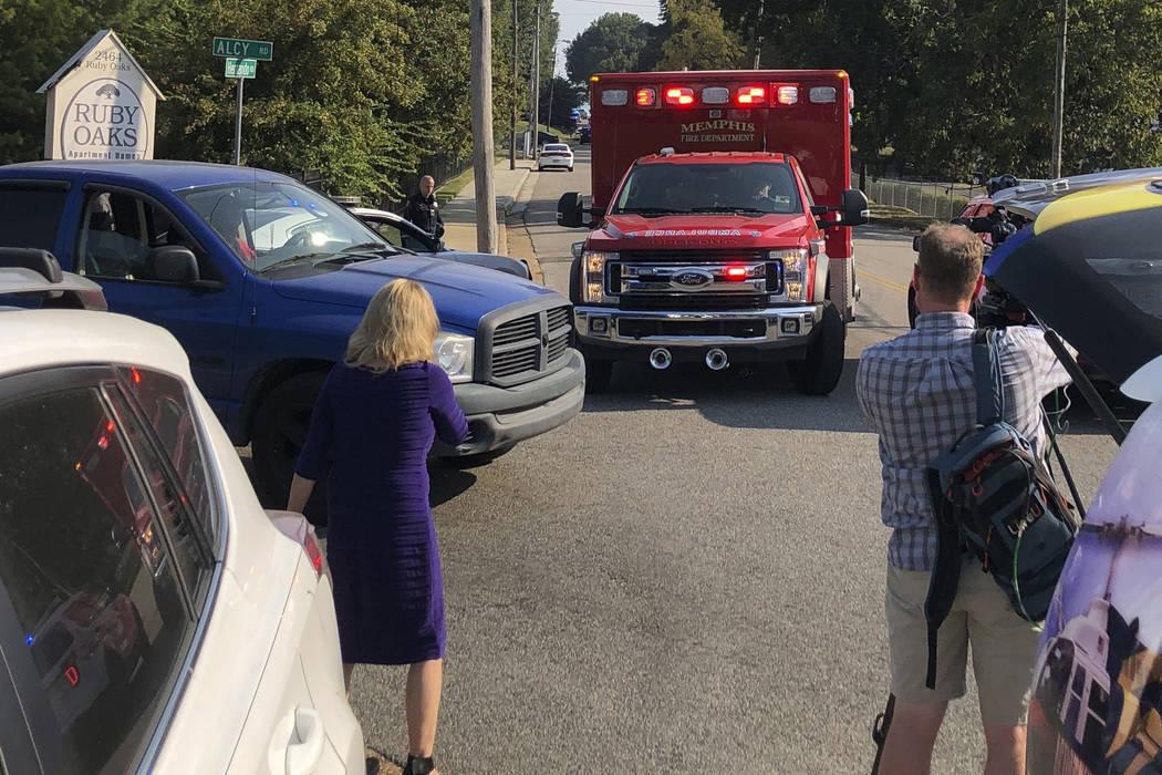 An ambulance leaves the scene shooting in Memphis, Tenn., on Wednesday, Sept. 18, 2019. Officia ...