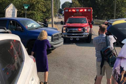An ambulance leaves the scene shooting in Memphis, Tenn., on Wednesday, Sept. 18, 2019. Officia ...