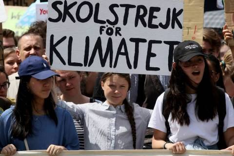 In this Friday, May 31, 2019 file photo, Swedish climate activist Greta Thunberg takes part in ...