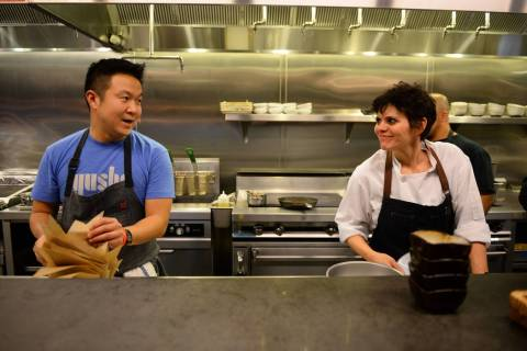 Chef Brian Lhee and Chef Gina Marinelli in the kitchen at the Dec. 2 installment of Yusho After ...