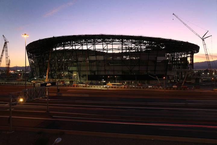 Allegiant Stadium during sunset in Las Vegas, Sept. 7, 2019. (Erik Verduzco / Las Vegas Review- ...