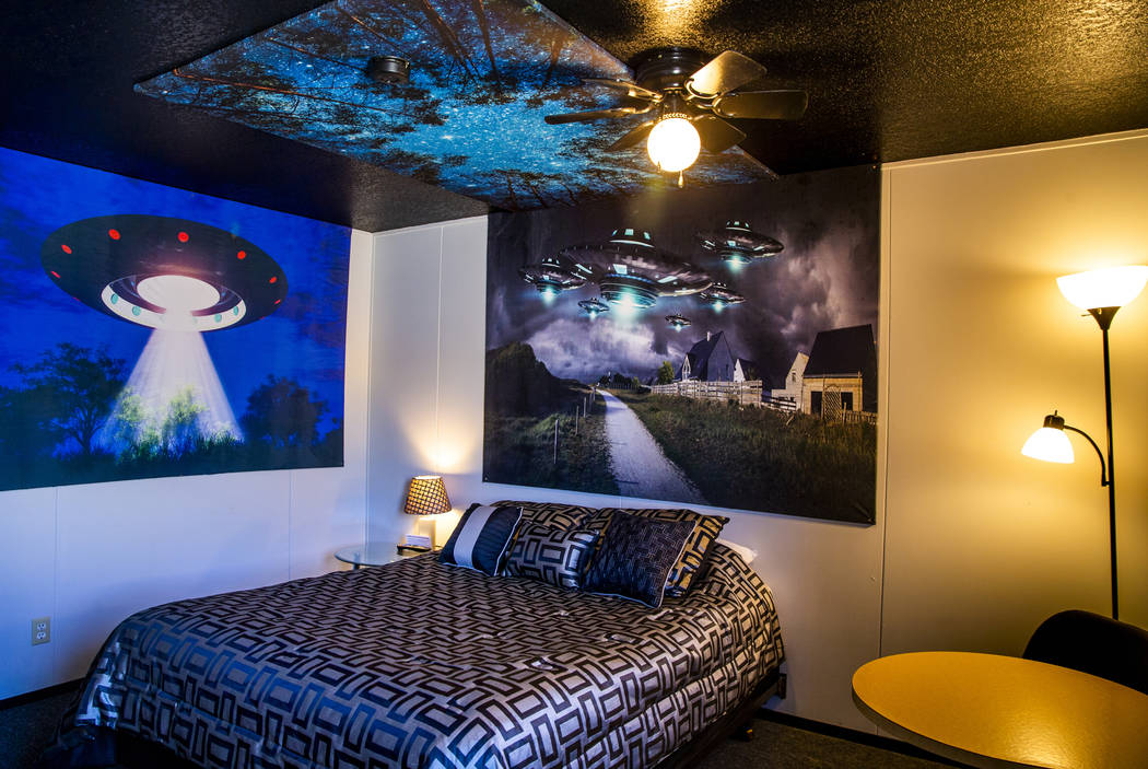 The new alien room is ready for the first customers at the Sunset View Inn in Alamo, Nevada, as ...