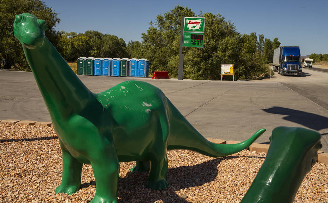 Port-a-potties are staged outside the Sinclair Gas Station in Alamo, Nevada, for the expected r ...