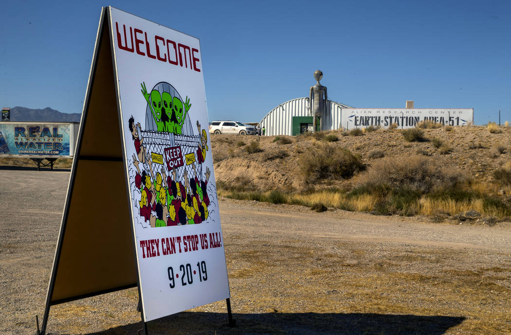 Welcome sign is out front for the Area 51 Basecamp festival at the Alien Research Center on Wed ...