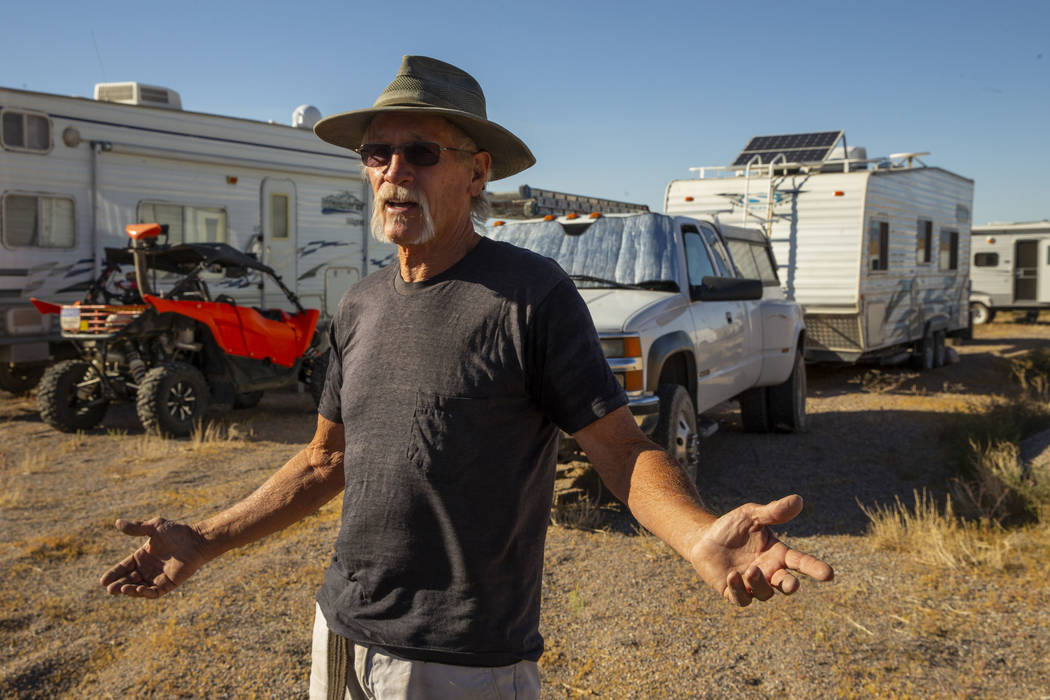 Ken Faulhaber of Las Vegas is camped out with friends as the Alienstock and Area 51 Basecamp fe ...