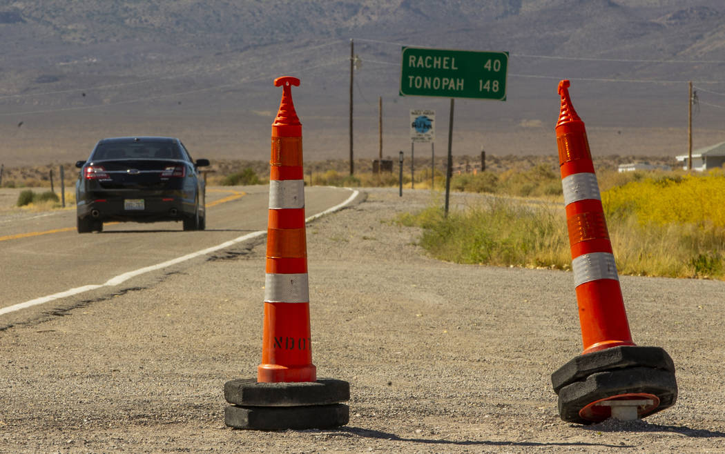 Cones denote where the Extraterrestrial Highway sign was and temporarily removed as the Alienst ...