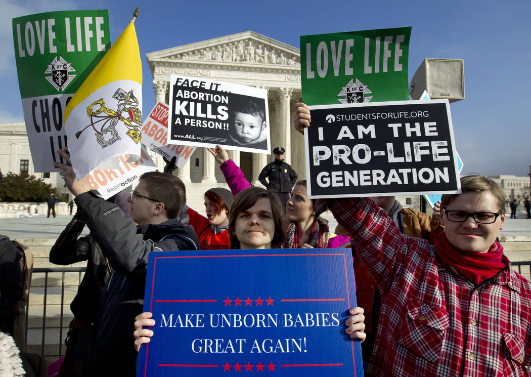 FILE - In this Jan. 18, 2019, file photo, anti-abortion activists protest outside of the U.S. S ...