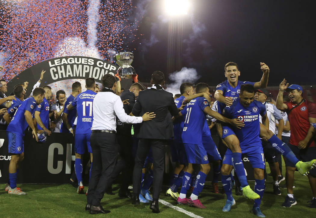 Cruz Azul celebrates their 2-1 win against Tigres in the Leagues Cup Final soccer game at Sam ...