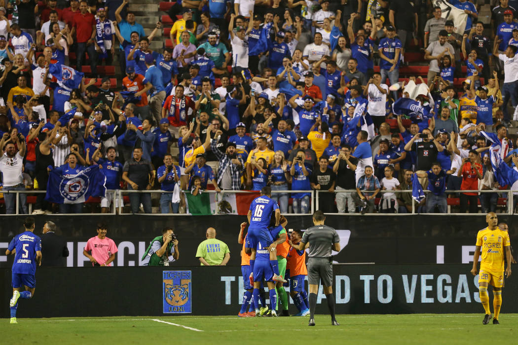 Cruz Azul celebrates a score against Tigres during the second half in the Leagues Cup Final soc ...