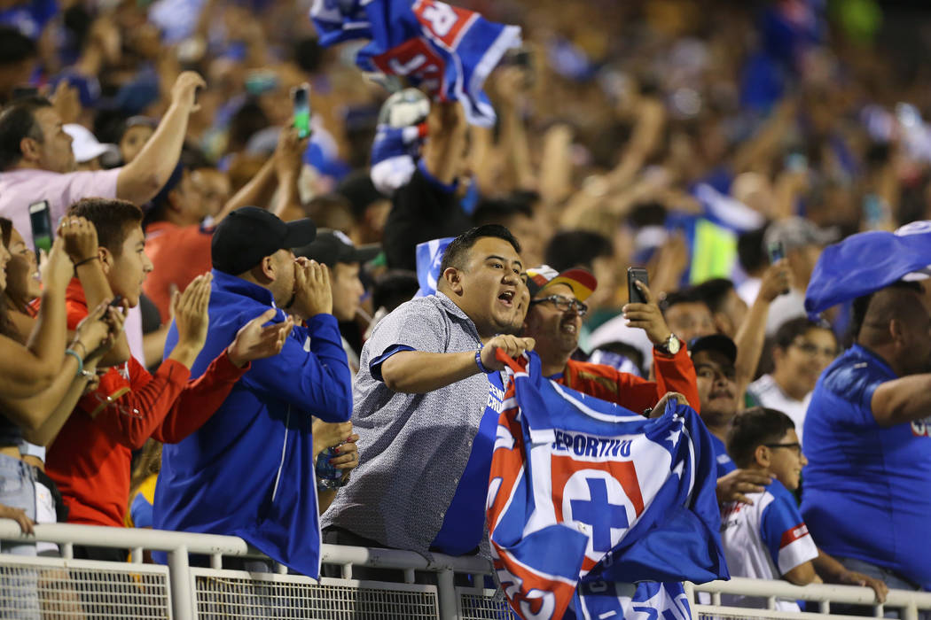 Fans celebrate a score by Cruz Azul against Tigres during the second half in the Leagues Cup Fi ...
