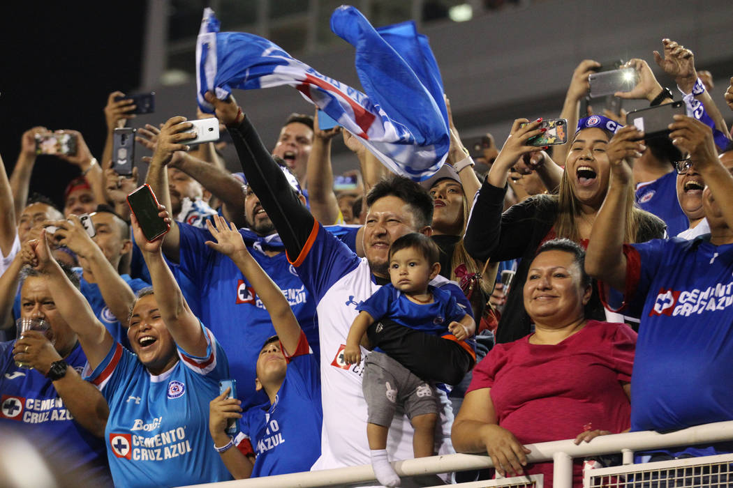Fans celebrate their team Cruz Azul winning 2-1 against Tigres in the Leagues Cup Final soccer ...