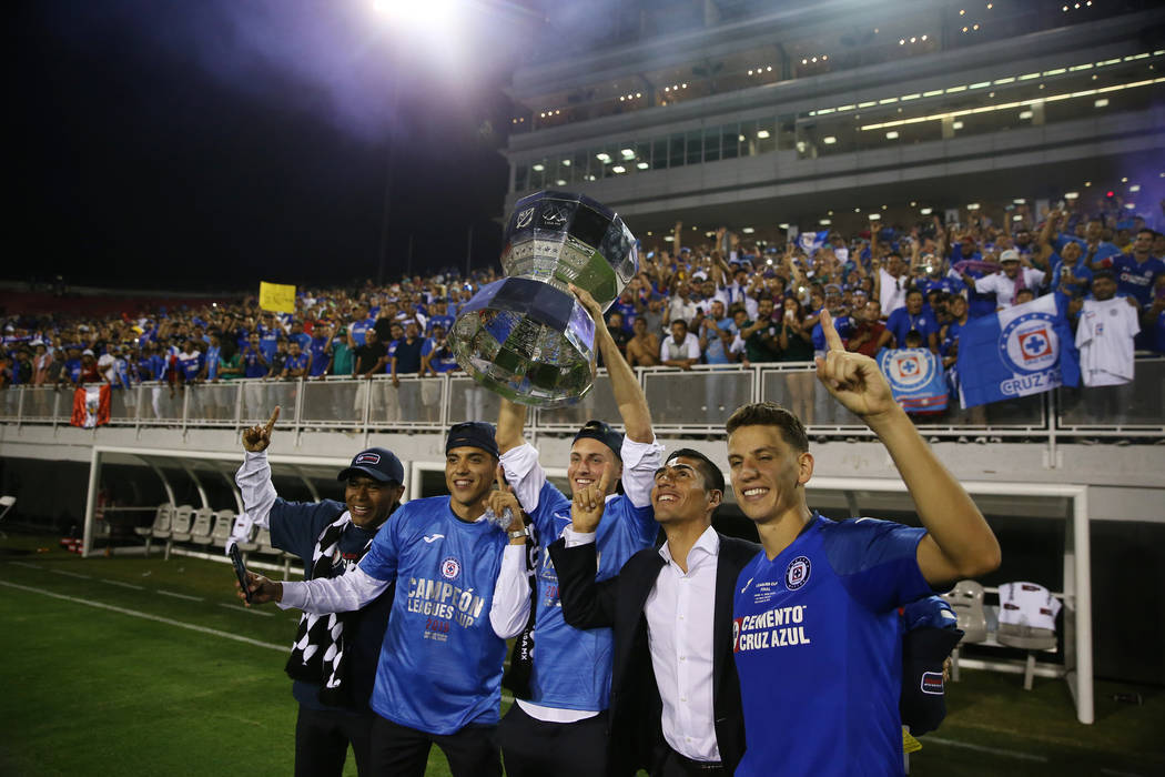 Cruz Azul celebrate their 2-1 victory against Tigres in the Leagues Cup Final soccer game at Sa ...