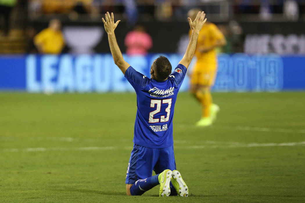 during the second half of the Leagues Cup Final soccer game at Sam Boyd Stadium in Las Vegas, W ...