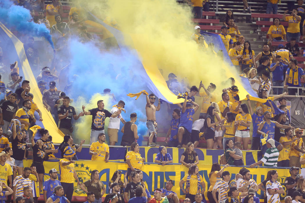 Fans celebrate a score by Tigres against Cruz Azul during the second half of the Leagues Cup Fi ...