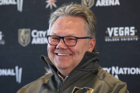 Golden Knights new General Manager, Kelly McCrimmon, smiles as he speaks during a press confere ...
