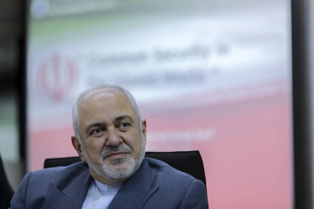 In an Aug. 29, 2019, file photo, Iranian Foreign Minister Mohammad Javad Zarif attends a forum ...