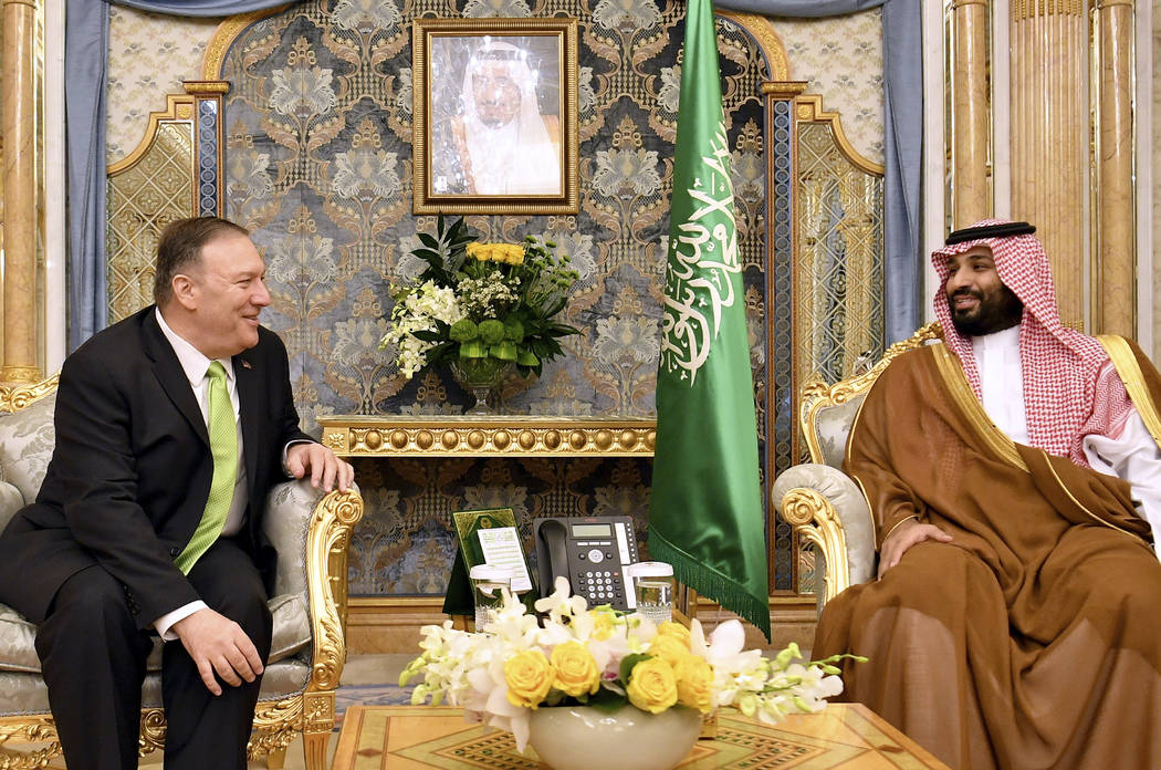 U.S. Secretary of State Mike Pompeo, left, meets with Saudi Arabia's Crown Prince Mohammed bin ...