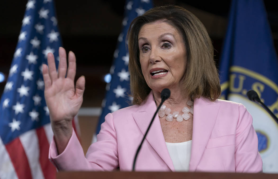 On this Sept. 12, 2019, photo, House Speaker Nancy Pelosi, D-Calif., speaks at the Capitol in W ...