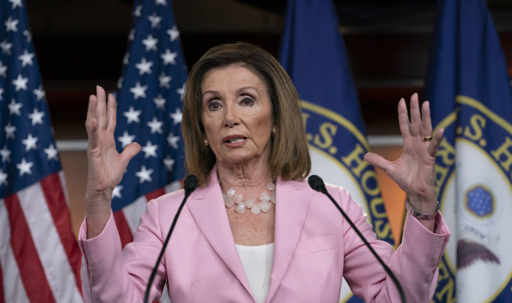 Speaker of the House Nancy Pelosi, D-Calif., meets with reporters just after the House Judiciar ...