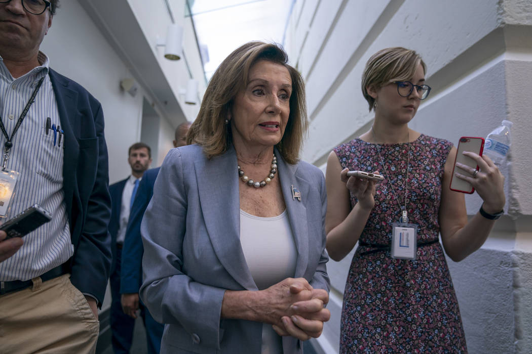Speaker of the House Nancy Pelosi, D-Calif., arrives for a closed-door meeting with the House D ...